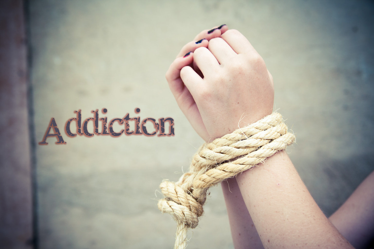 addiction, roped hands